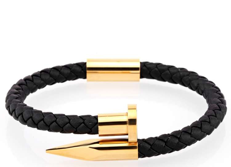black leather with gold plated finish
