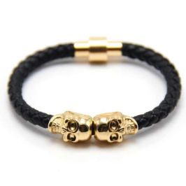 Genuine Leather Twin Skull Bracelet