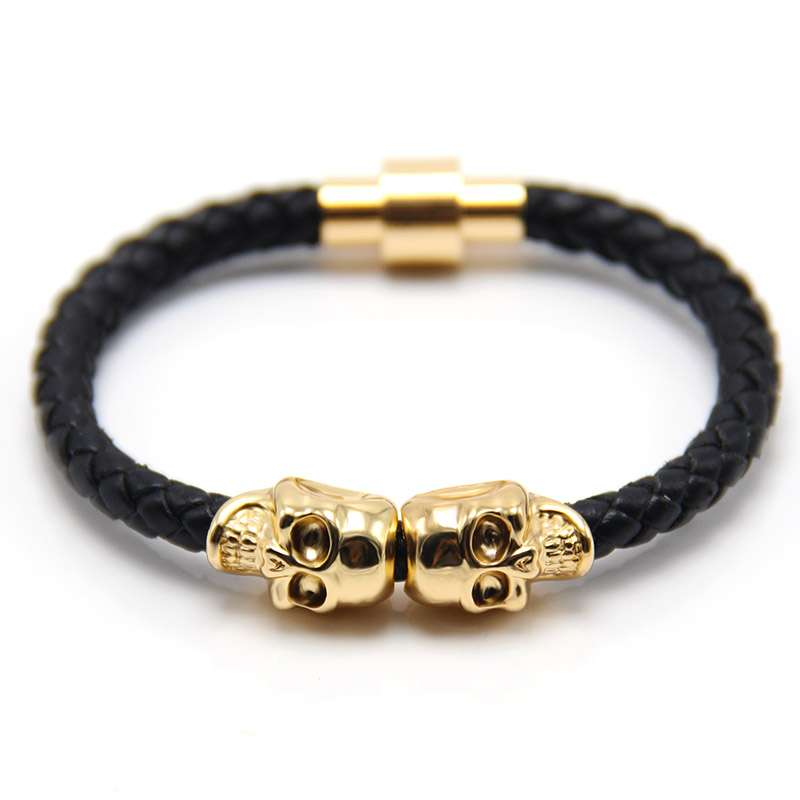 leather bracelets for men - Twin Skull